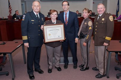 The Arlington County Sheriff's Office received their 5th VLEPSC award at their Board of Supervisors meeting on Tuesday, June 17, 2014. (Chief Evans, Sheriff Arthur, Arlington County Board Chair Jay Fisette, Sgt. Shannon Williamson and Major Mike Pinson)