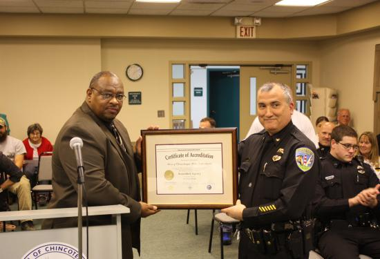 On April 4, 2016 the Town of Chincoteague Police Department were formally presented their 1st Reaccreditation Award.