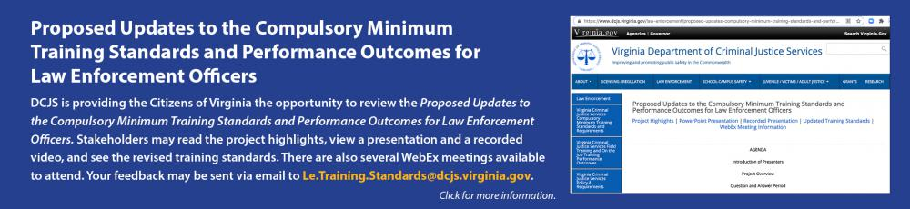 Proposed Updates to the Compulsory Minimum Training Standards and Performance Outcomes for Law Enforcement Officers